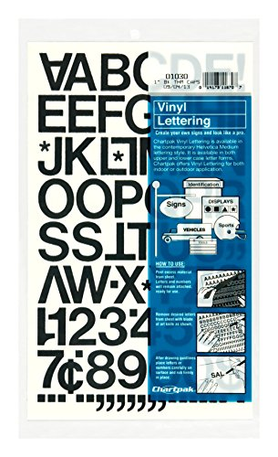 Chartpak Self-Adhesive Vinyl Capital Letters and Numbers, 1 Inch High, Black, 88 per Pack (01030)