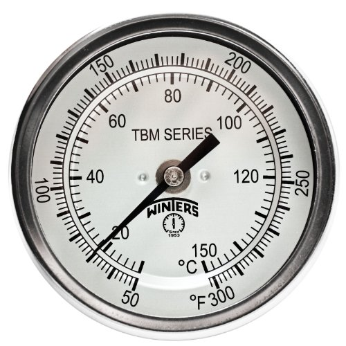 304 Series - Winters TBM Series Stainless Steel 304 Dual Scale Bi-Metal Thermometer, 4