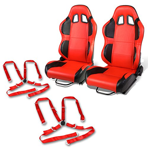 - Pair of RS-011-RD-BK PVC Leather Reclinable Racing Seat+Red 4-Point Cam Lock Belts