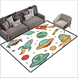 Bath Rug Kids Room Outer Space Theme Rocket Space Ship UFO Stars Planets Alien Earth Saturn Galaxy Print Country Home Decor W6' x L8'10