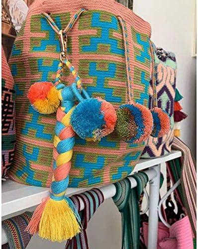 kanggest boh/ème Tassel Porte-cl/és Tribal Soyeux Glands Pendentif Multicolore Pompon Filetage Frange Sac /à Ornements pour Femmes Filles Velours breloque pour Sac Decor Craft Porte-cl/és-Bleu