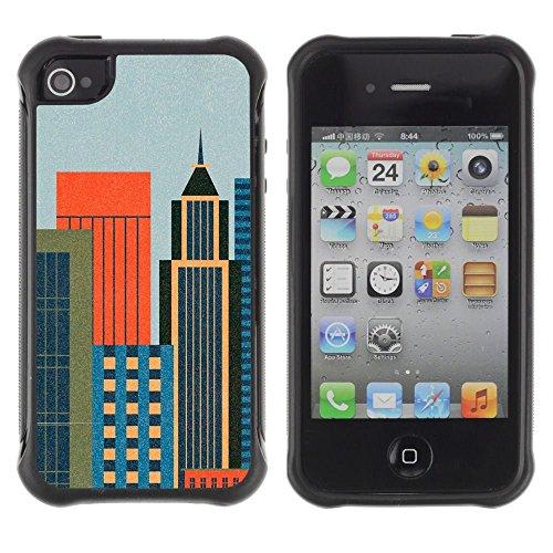 iPhone 4 / iPhone 4S , Big City Architecture Design Colorful Art