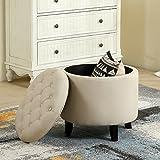 """Belleze Modern Button Tufted Accent Storage Ottoman Lift Top Footstool 17-3/4"""" Round (Beige)"""