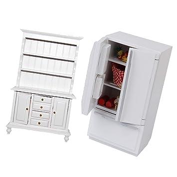 Amazon.es: KESOTO Muebles de Madera en Miniatura Refrigerador Y ...