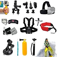 Xtech Biking / Camping / Hiking / Climbing / Traveling / Swimming / Surfing / Jet Skiing ACCESSORIES KIT for GoPro Hero 4 3+ 3 2 1 Hero4 Hero3 Hero2, Hero 4 Silver, Hero 4 Black, Hero 3+ Hero3+ and for Bike Riding, Cycling, Racing, Dirt Bikes, Dirt Track Racing, Rollerblading, Skating, Motorcycle Racing, Uni-Cycling, Kayaking, Rowing, Rafting, Water sailing and other Similar Sports Activities Includes: Adjustable Head Strap Mount+ Adjustable Chest Strap Mount +Selfie Stick Monopod Pole +MORE