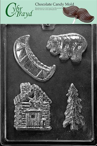 Cybrtrayd S114 Camping Kit Chocolate Candy Mold with Exclusive Cybrtrayd Copyrighted Chocolate Molding Instructions - Tree Chocolate Mold