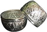 2x Aluminum water bowl Thai design silver bowl sterling bowls serving set 3''