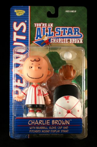 CHARLIE BROWN (RED JERSEY) with Baseball, Glove, Cap & Pitcher's Mound Display Stand PEANUTS Action Figure from