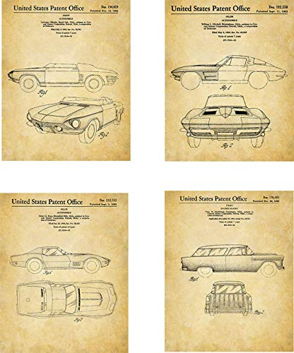 Chevrolet Patent Wall Art Prints - set of Four (8x10) Unframed - wall art for chevy car lovers