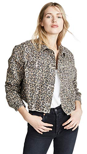 Free People Women's Cheetah Print Denim Jacket, Neutral Combo, Medium