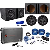 2) Kicker 43CVR124 COMPVR 1600W 12 Subwoofers+Vented Box+Mono Amplifier+Amp Kit