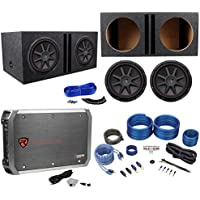 2) Kicker 43CVR124 COMPVR 1600W 12 Subwoofers+Vented Box+Mono Amplifier+Amp Kit