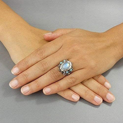 Vintage Style Alternative Engagement Ring Handmade Sterling Silver Rainbow Moonstone Opal Queen Ring