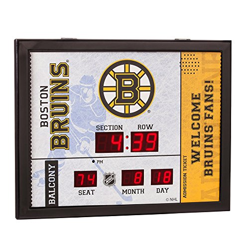 Team Sports America Boston Bruins Bluetooth Scoreboard Wall Clock