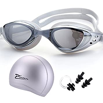 NAUY- Juego de 3 gorras de natación Myopia Goggles hembra ...