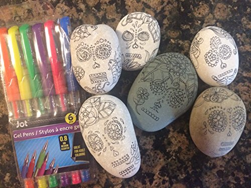 Set of 6 Sugar Skulls & Pens ~ Adult Coloring Rocks ()