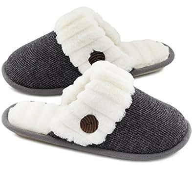 HomeTop Women's Cute Comfy Fuzzy Knitted Memory Foam Slip On House Slippers Indoor (Women 5-6(Aus), Black)