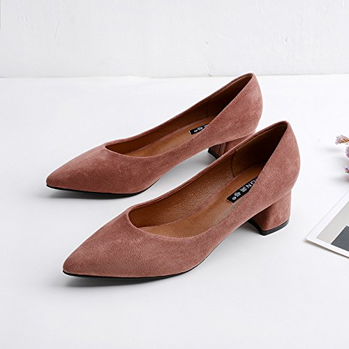 GAOLIM Zapatos De Tacón Negro Chica Etiquette Consejos A La Luz De La Carrera, Con Finos Con Ol Azafatas Zapatos De Vestir. Rosa