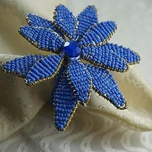 Anillo de servilleta ZBHMB Beaded Poinsettia, granos de cristal, 4,5 cm, 12 jadella, azul
