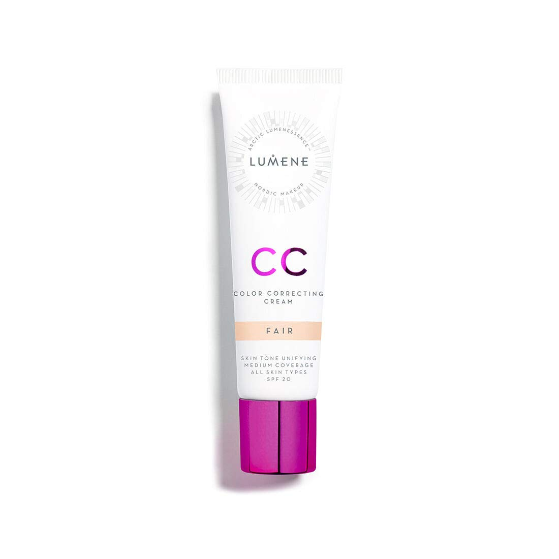 Lumene CC Color Correcting Cream infused with Pure Arctic Spring Water - 6 in 1 Medium Coverage for all Skin Types SPF 20-30 ml / 1.0 Fl.Oz. (Fair)