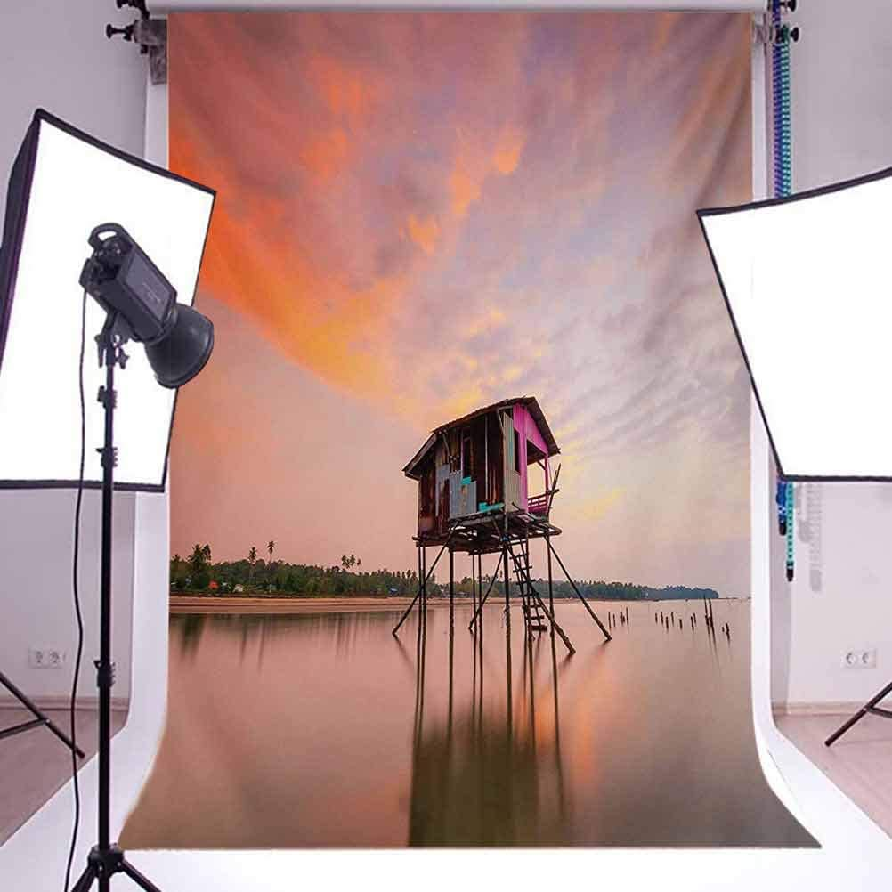 Rustic 10x15 FT Photography Backdrop Single Fishing House at Sunset After Flash Flood Water in Malaysian Village Background for Party Home Decor Outdoorsy Theme Vinyl Shoot Props Multicolor