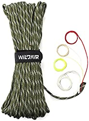 "WILDAIR Paracord Survival Paracord Parachute Fire Cord Survival Ropes 4-in-1 5/32"" Diameter U.S. Military"