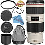 Canon EF 70-200mm f/4L IS USM Lens 1258B002 + 67mm UV Filter + Fibercloth + Lens Capkeeper Bundle