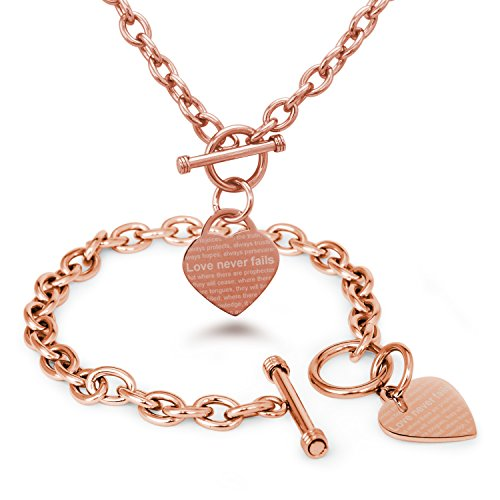 Rose Gold Plated Stainless Steel Love Never Fails 1 Corinthians 13: 6-8 Heart Charm, Bracelet and Necklace - Gold Tiffany Rose
