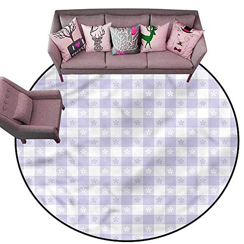 Soft Area Children Baby Playmats Lavender,Classic Gingham Pattern Diameter 66