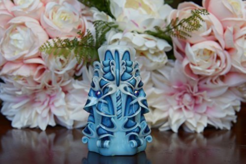 Candle Carved Scented Light blue Blue Black White - Custom order available with any scent color shape - Handmade in USA
