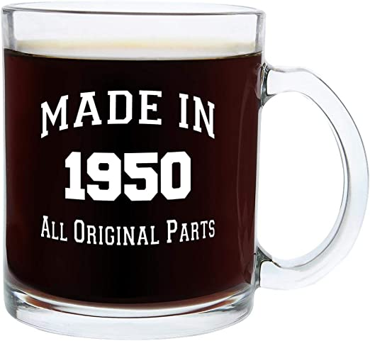 Amazon Com Gifts For 70th Birthday Gifts For Men Made 1950 70th Birthday Party Supplies Gift Glass Coffee Mug Tea Cup White Kitchen Dining