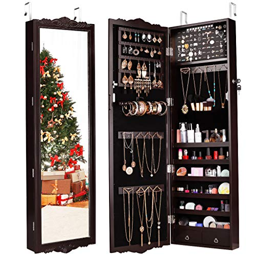 - LANGRIA 10 LED Jewelry Armoire with Mirror, Lockable Wall-Mounted Over-The-Door Hanging Jewelry Cabinet with 3 Adjustable Heights, Carved Design with 2 Drawers (Brown)