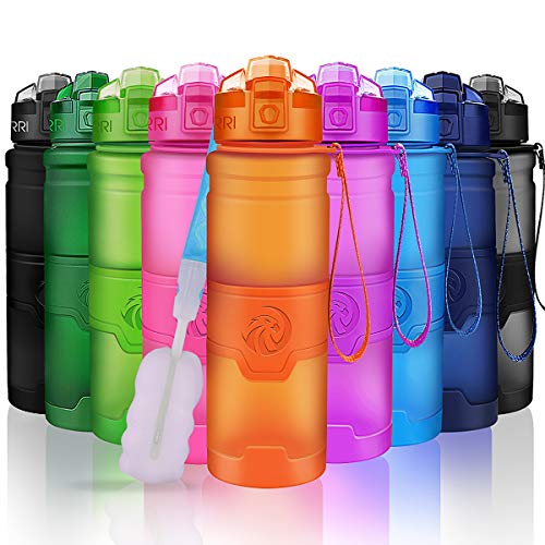 ZORRI Sport Water Bottle for Kids, 700ml/24oz - Bpa Free Eco-Friendly Tritan Plastic, Reusable Drinks Water Bottles with Filter, Leak Proof Flip Top, Open with 1-Click - for Gym, Yoga, Running (Perfect Amount Of Water For Bottle Flip)