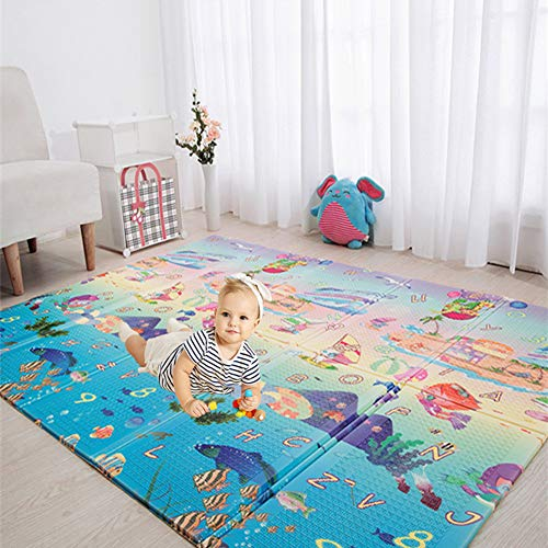 (Eanpet Baby Play Mat Folding XPE Thick Foam Playmat Floor Non-Slip Large Foam Reversible Area Rug Waterproof Baby Toddler Play Crawl Mat, Portable Non-Toxic Activity Mat - 5 x 7 FT (Forest & Sea))