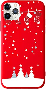 """BLLQ iPhone 11 Pro Max Cover Case, Christmas Design Cute Soft Silicone Slim Fit Protect Case for iPhone 11 Pro Max(2019) 6.5 inch,iPhone 11 Pro Max Case Red 6.5"""""""