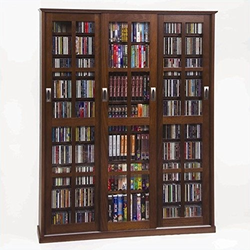 (Multimedia Wall Cabinet w Three Sliding Doors w Glass)