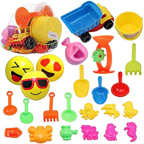 Playoly 24 Pieces Beach Sand Toys Set Models, Beach Pail Set, Inflatable Emoji Beach Balls with Molds Bucket, Rake, and Shovel with Easy to Pack Mesh Bag