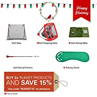 Rukket Mini Turf Golf Hitting Grass Mat | Realistic Grass | Portable Driving, Chipping, Training Aids, Equipment for Residential Backyard & Indoor Practice W/Rubber Tee & 12 Practice Balls
