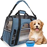 Premium Pet Travel Carrier, Airline Approved, Soft Sided with Fleece Bed Mats, Perfect for Small Dogs, Cats, Birds, Rabbits, and Chicken. (Light Blue)