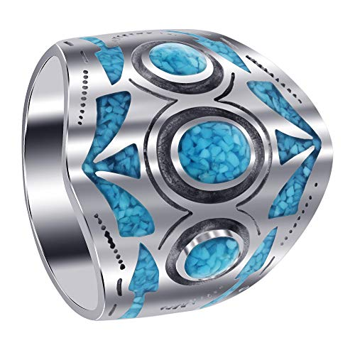 Men's 925 Sterling Silver Turquoise Chip Inlay Mosaic Design Ring Size 10