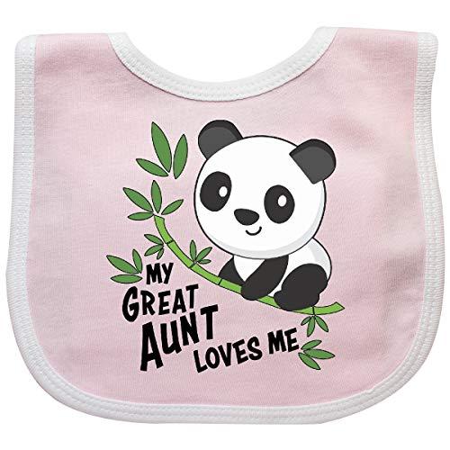 Inktastic My Great Aunt Loves Me- Cute Panda Baby Bib Pink/White