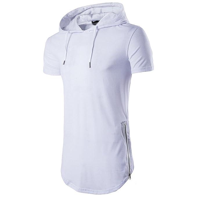 huge selection of ea4a3 106d3 CHENGYANG Uomo Casual Sezione Lunga T-Shirt con Cappuccio Basic Maniche  Corte Magliette