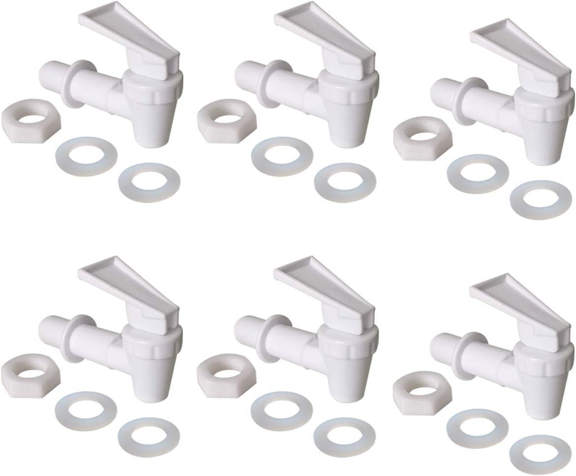 Water Crock Water Tap - Water Bottle Jug Reusable Spigot Spout - Replacement Water Beverage Lever Pour Dispenser Valve - Water Dispenser Cooler Faucet.(Pack of 6 White)