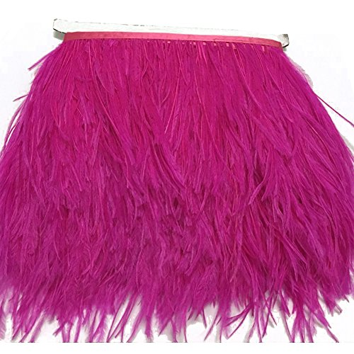 (KOLIGHT Pack of 2 Yards Natural Dyed Ostrich Feathers Trim Fringe 4~5inch for DIY Dress Sewing Crafts Costumes Decoration (Rose))