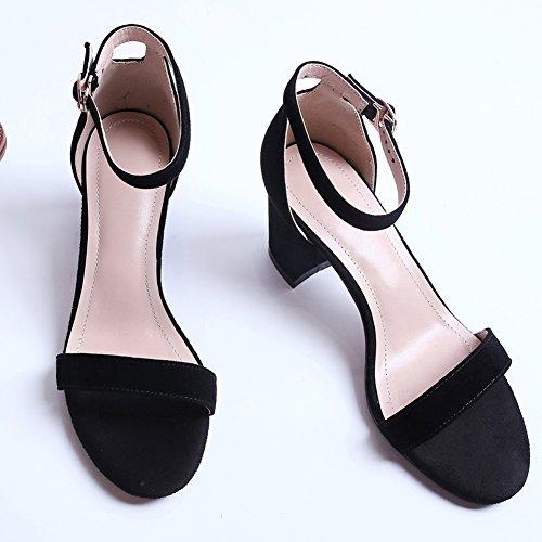 pour chaussures Block bride la sandales noires à à Jushee Sandals femmes cheville dames et Heel SZwxqxHBt