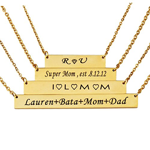 - HUAN XUN Custom Bar Necklace Name Monogram Initial Name on Choker Personal Jewelry Birthday Valentine Gift