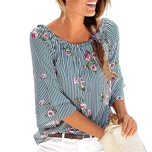 Mysky Fashion Summer Bohemian National Print Elastic Off Shoulder Sweet Flare Sleeve Tops T-Shirt Blouse Blue ()