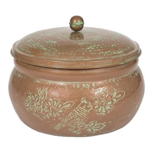 Hose Pot Lid - CobraCo Bird Motif Copper Finish Hose Holder with Lid HHEBR