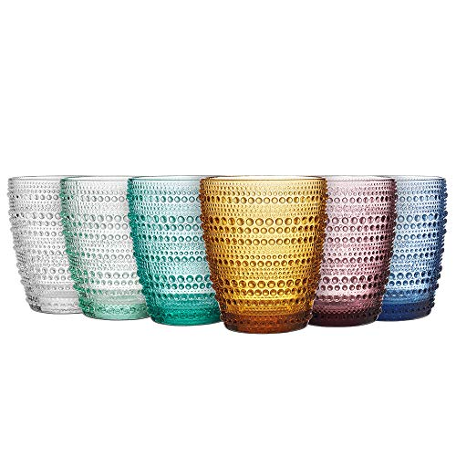 MESHA Beaded Tumblers Colored Water Glasses Dewdrop Heavy Base Glasses Set, Drinking Glasses, Set of 6 (9.4)
