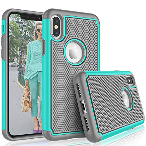 Tekcoo for iPhone XS Max Case / (6.5) iPhone XS Max Cute Case, [Tmajor] Shock Absorbing [Turquoise] Rubber Silicone & Plastic Scratch Resistant Bumper Grip Sturdy Hard Cases Cover